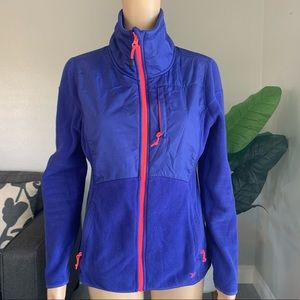 Old Navy Blue and Pink Thermal Fleece Zip Jacket M